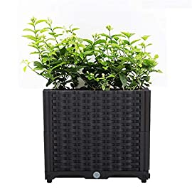 Hershii Square Deepened Garden Raised Bed Kits Plastic Plant Containers Indoor Outdoor Vegetables Herbs Flowers Growing Planter Box - Black - 15.35 X 15.35 X 14.96 Inches 9 MULTIFUNCTIONAL: This planter box can easily be converted to indoor or outdoor use, space saving design, great for vegetables, herbs, plants, succulents and flowers growing. A great raised bed for all enthusiastic garden lovers. Perfect for planting in the balcony, terrace, garden, backyard, patios, meadow or the corners in your living room. DURABLE & MOISTURE MAINTAINENCE: Made of PP material, sturdy and weather-resistant. It's enough to strongly support the weight from the garden bed itself and plant. Water barrier & bottom board design, filtering excess water from the soil and store it in the bottom boards.It can kindly keep and maintain moisture for plant inside. ATTRACTIVE APPEARANCE: Great gifts for families, parents, friends, enjoy the joy of pastoral life. For families with children, you can grow vegetables, plants, flowers, herbs on the balcony, let the children know the nature and cultivate children's Hands-on ability, responsibility and love. Eating vegetables grown by yourself is also very healthy.