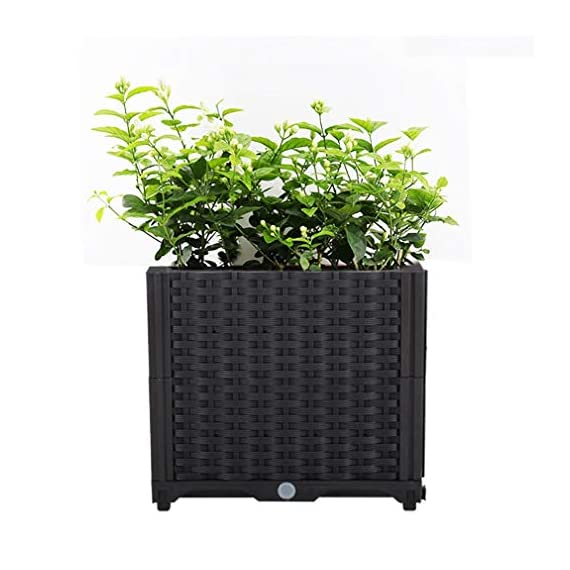 Hershii Square Deepened Garden Raised Bed Kits Plastic Plant Containers Indoor Outdoor Vegetables Herbs Flowers Growing Planter Box - Black - 15.35 X 15.35 X 14.96 Inches 1 MULTIFUNCTIONAL: This planter box can easily be converted to indoor or outdoor use, space saving design, great for vegetables, herbs, plants, succulents and flowers growing. A great raised bed for all enthusiastic garden lovers. Perfect for planting in the balcony, terrace, garden, backyard, patios, meadow or the corners in your living room. DURABLE & MOISTURE MAINTAINENCE: Made of PP material, sturdy and weather-resistant. It's enough to strongly support the weight from the garden bed itself and plant. Water barrier & bottom board design, filtering excess water from the soil and store it in the bottom boards.It can kindly keep and maintain moisture for plant inside. ATTRACTIVE APPEARANCE: Great gifts for families, parents, friends, enjoy the joy of pastoral life. For families with children, you can grow vegetables, plants, flowers, herbs on the balcony, let the children know the nature and cultivate children's Hands-on ability, responsibility and love. Eating vegetables grown by yourself is also very healthy.