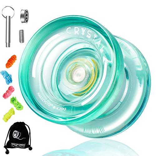 YOSTAR Magic Yoyo Responsive JoJo für Kinder K2 Plus, Doppelzweck JoJo für Anfänger, Ersatz Nicht reagierendes Lager für mittlere Fortgeschrittene, mit 5 Yoyo-Saiten, Lagerentferner, Tasche (Grün)