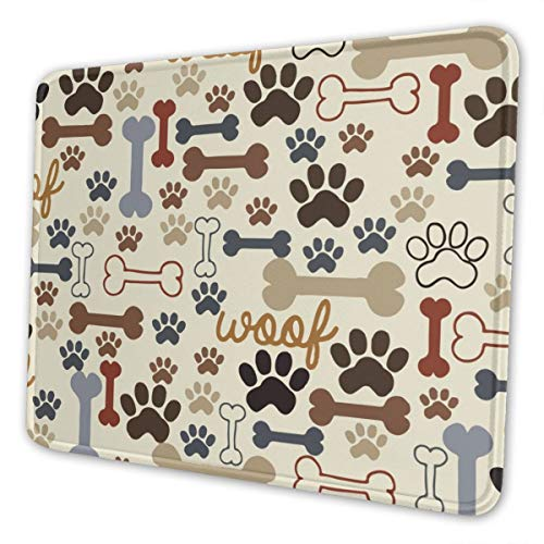 Mouse Pad Dog Paw Prints Bones Gaming Mat Customized Non-Slip Rubber Base Stitched Edges for Office Laptop Computer