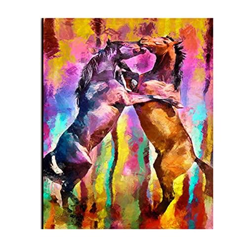 Cartel de lienzo de animal moderno pintura al óleo colorida soporte de lucha salvaje caballo cuadro decorativo para decoración de sala de estar 20x28 pulgadas 1 piezas sin marco