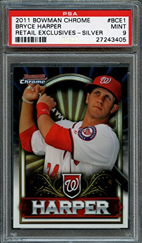 2011 bowman chrome retail exclusives-silver #bce1 BRYCE HARPER rookie card PSA 9 Graded Card