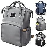 BEARTOP Wickeltasche Rucksack groß inkl. Wickelunterlage in grau, schwarz & mehr | Mommy Bag mit viel Stauraum & Taschen | mit Nass- & Isolierfach | Zufriedenheitsgarantie (3 Jahre)*