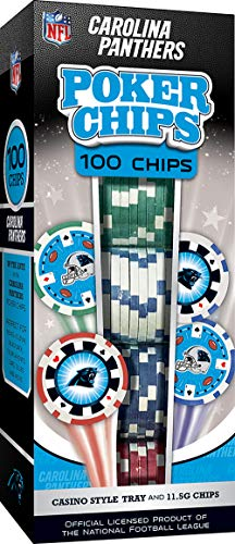 MasterPieces NFL Carolina Panthers 100-Piece Poker Chips, Team Colors, One Size (CAP3120)
