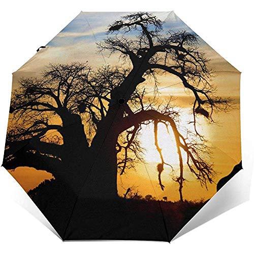 Wunderschöner winddichter Regenschirm mit Giraffen-Silhouette - winddichtes, verstärktes Verdeck