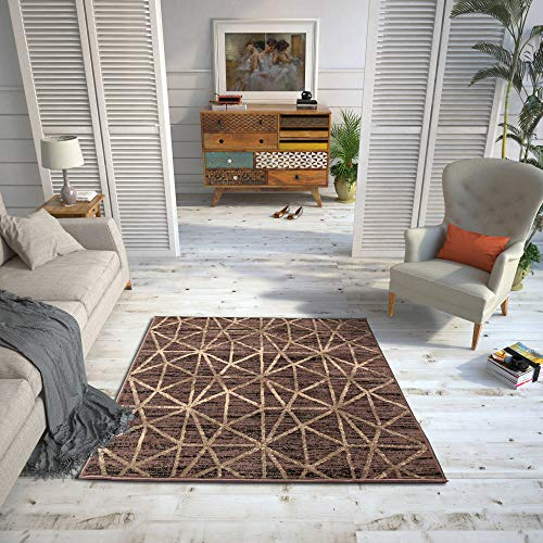 HomeArt Living Room RUG - Short Pile, Bordered, Soft, Area Carpet for Bedroom & Home Decoration, Geometric Pattern, New Unique Design, Small to Extra large (Brown/Cacao, 80 x 150 cm)