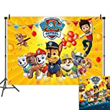Yellow Stripe Puppy Dogs Photo Background Baby Kids Happy Birthday Party Decorations Vinyl Paw Patrol Balloon Photography Backdrop Baby Shower Cake Table Supplies Photo Booths 5x3ft Banner