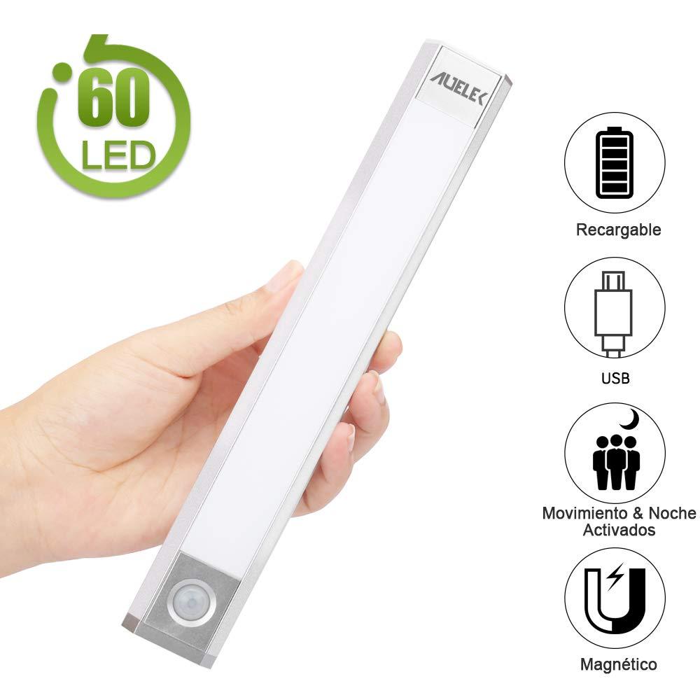 Luz LED Armario Luz Sensor Nocturna Lámpara, 60 LED Luz de Armario USB Recargable Magnético con 3 Modos, 3 colores, 1000mAh para Armario/Gabinete/ Escalera/Sótano/Cocina/Pasillo/Baño/Dormitorio: Amazon.es: Iluminación