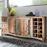 FineBuy Design Sideboard YEMA 193x90x45 cm Highboard mit 3 Schubladen und 3 Türen | XXL Massiv-Holz Kommode mit Flaschenregal | Kommodenschrank Shabby-Chic Bunt Modern