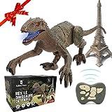 SAKHRI PARIS®– Ferngesteuertes Dinosaurier-Spielzeug – Rex der Dinosaurier aus Paris – Realistische Bewegungen und Geräusche – Roboter mit Fernbedienung – Geschenk für Kinder – Jungen & Mädchen