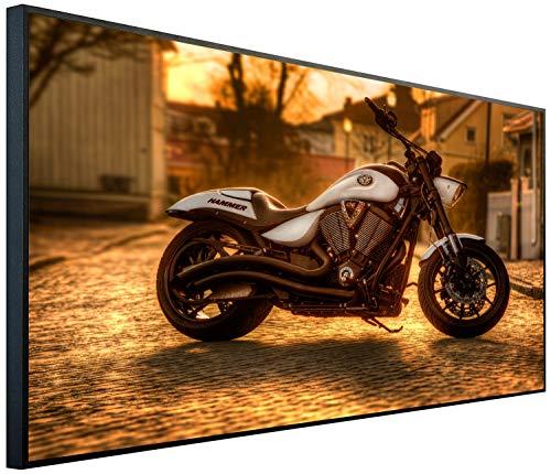 Ecowelle Infrarotheizung mit Bild   1200 Watt   120x60x2cm   Infrarot Heizung    Made in Germany  e 140 Motorrad Abend