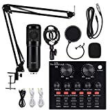 Condenser Microphone Bundle, ALPOWL BM-800 Mic Kit with Live Sound Card, Adjustable Mic Suspension Scissor Arm, Metal Shock Mount and Double-Layer Pop Filter for Studio Recording & Broadcasting(Black)