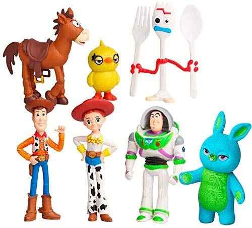Toy Story Toys – Set of 7 Action Figures with Woody, Buzz and Rex – Fun Party Supplies for Toddlers – Cake Topper Set for Birthday