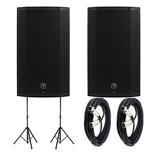"""Pair of Mackie Thump15BST Boosted -1300W 15"""" Advanced Powered Loudspeakers with Pair of Steel Speaker Stand and Pair of XLR-XLR Cable"""