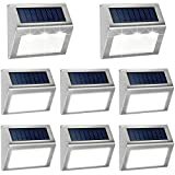 Outdoor Fence Lights,12 Pack Solar Powered Deck Lights Waterproof Stairs Light Stainless Steel Security Wall Lamps for Step Walkway Patio Garden Pathway - Cool White