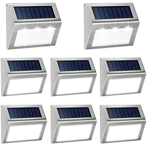 Cool White Solar Deck Lights Outdoor,Wireless LED Decks Lights Waterproof Solar Wall Light Outside Decorative Lamp for Walkway,Fence Post,Backyard,Railing,Staircase,Pool ,Step,Garden,Stairs 8 Pack