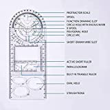 2 Pcs Righello geometrico multifunzionale, righello in plastica per disegno geometrico, strumento di misurazione multiuso per forniture scolastiche e ufficio (transparent)
