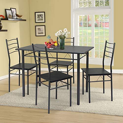 VS Venta-stock Conjunto Mesa y 4 sillas Comedor Lima Negro/Gris, Mesa 110 cm x 70 cm x 76 cm, Estructura metalica