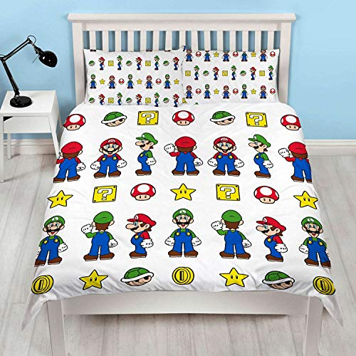 Official Super Mario Double Duvet Cover Design | Reversible Two Sided Mario & Luigi White Bedding Duvet Cover With Matching Pillow Case