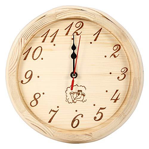 Reloj de Pared Redondo de Madera, diseño de números arábigos Sauna Reloj de Madera para Colgar en la Pared para Sauna/Cocina/Sala de Estar/Dormitorio/Oficina - 9.1 x 2.4 in