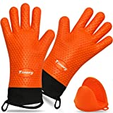 Timoey Grilling Gloves, Heat Resistant Gloves BBQ Kitchen Silicone Oven Mitts, Long Waterproof Non-Slip Potholder for...