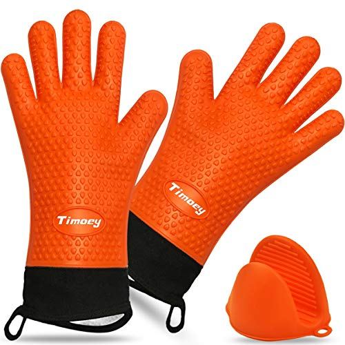 Timoey Grilling Gloves, Heat Resistant Gloves BBQ Kitchen Silicone Oven Mitts, Long Waterproof Non-Slip Potholder for Barbecue, Cooking, Baking + Anti-Hot Hand Clip (Orange)