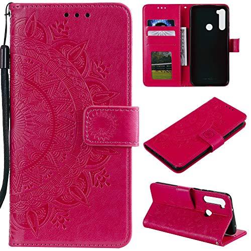 HTDELEC Custodia Xiaomi Redmi Note 8 Rosso Premium Pu Portafoglio Protettiva in Pelle,Anti-Slip Slot Portafoglio Flip Protettivo Dell'ente Completo Slim Fit Cover(T-Rosso)
