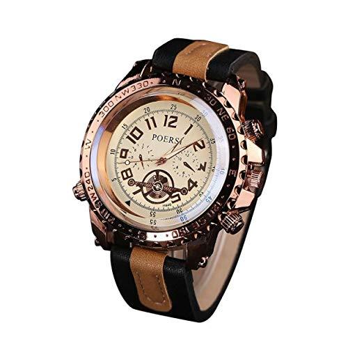 Armbanduhr herren Liusdh Uhren Golden Deluxe Compass Blue Ray Uhrenarmband Herrenuhr uhr(Black,Einheitsgröße)