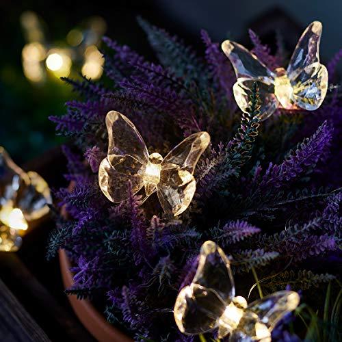 Lights4fun Catena Luminosa di 10 Farfalle Micro LED Bianchi Caldi a Pile per Esterni