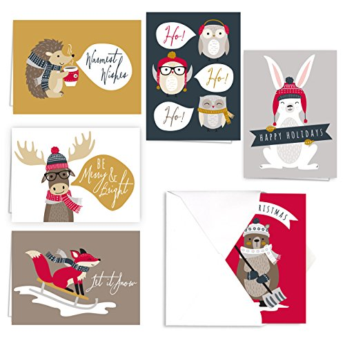 Woodland Animals Holiday Card Pack / 36 Cards And Envelopes Set / 6 Cards Of Each Winter Design/Cheerful Verses Inside/Christmas Greeting Card Set