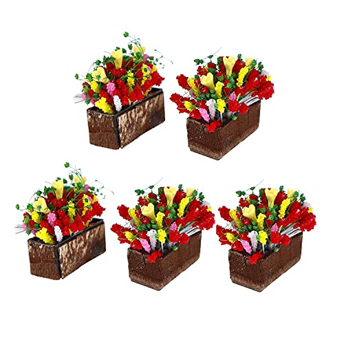 SGerste 5-pack 1/12 dockhus miniatyrväxt flerfärgad blomma med träkruka trädgårdstillbehör dockhus dekoration miniport
