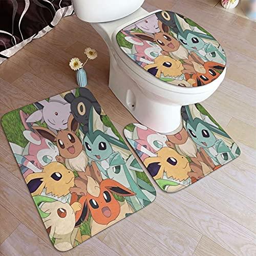 Cute Doormat Tapis de bain Pokémon - 3 pièces - Antidérapant - Motif étoile de mer