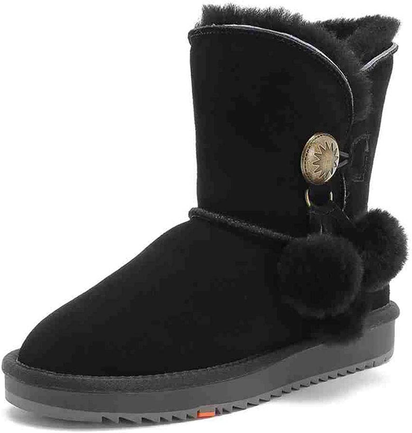 Hair Ball Warm Snow Boots Booties Women's shoes Flat Snow Boots Casual Boots Warm Short Velvet Sneakers Casual Walking shoes shoes & Handbags (color   Black, Size   36)