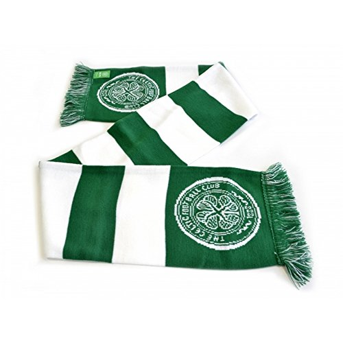 Celtic FC Official Bar Jacquard Scarf (One Size) (Green/White)