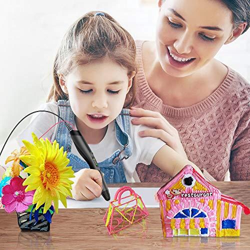 3D Stift, Tecboss 3D Pen mit LCD Anzeige, 3d Drucker Stifte für Kinder, Erwachsene, 8 Einstellbare Geschwindigkeit 3D Stifte Kit mit PLA und ABS Modus, Passt für DIY, Kritzelei, Zeichnung und Kunst & Handgefertigte Werke, Schwarz - 5