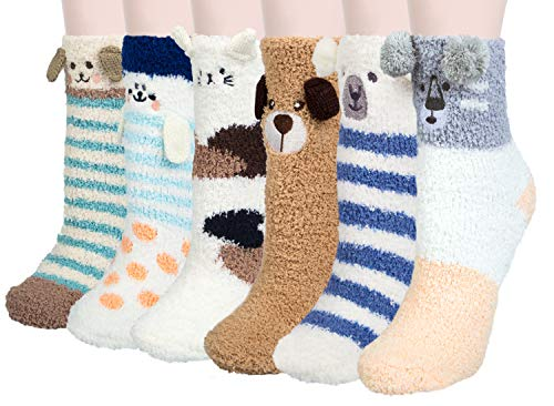 Loritta 6 Pairs Womens Fuzzy Christmas Socks Soft Warm Winter Cozy Fluffy Slipper Socks Gifts,Multicolor 09