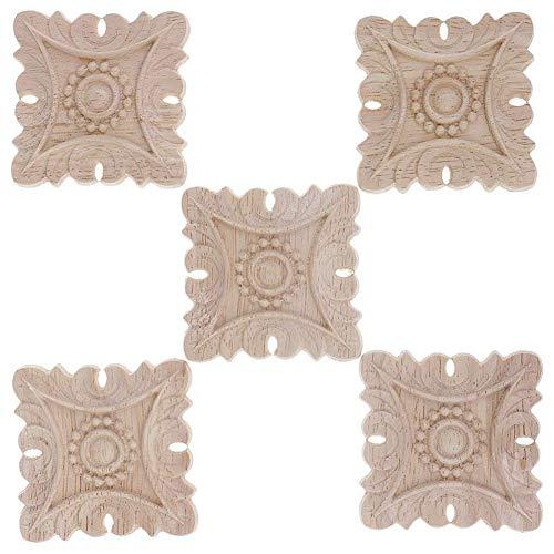 Gaoominy 5 Piezas Apliques Escultura Estilo Europeo Cuadrao De Talla De Madera Accesorios Decoracion De Casa Muebles De La Puerta Figuras - # 3, 5X5Cm