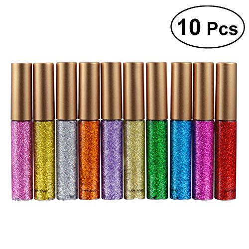 frcolor Glitter Shimmer, Metallic Liquid Eyeliner Glitters Eyeliner Waterproof, Lot de 10 pièces