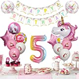 Ouddy 18 PCS Unicorn Birthday Decorations for Girls, Unicorn Party Supplies with 43'18''12'' Pink Unicorn Balloons Happy Birthday Banner for Girls 5th Party Baby Shower Birthday Backdrop