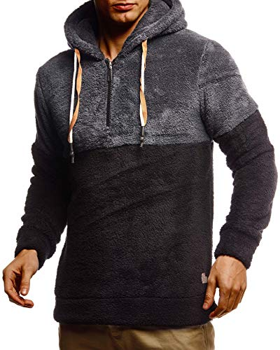 Leif Nelson Herren Hoodie Teddy Fleece Pullover mit Kapuze Kapuzenpullover für Männer Pulli Longsleeve Sweatshirt LN20100 Größe XXL Anthrazit-Schwarz