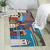 漫画の町カーペットの塗装と印刷、大きくてモダンな模様のふわふわの床カーペット、柔らかなインテリア、寝室、オフィス、リビングルーム、お手入れが簡単、180cm X 60cm * 6mm