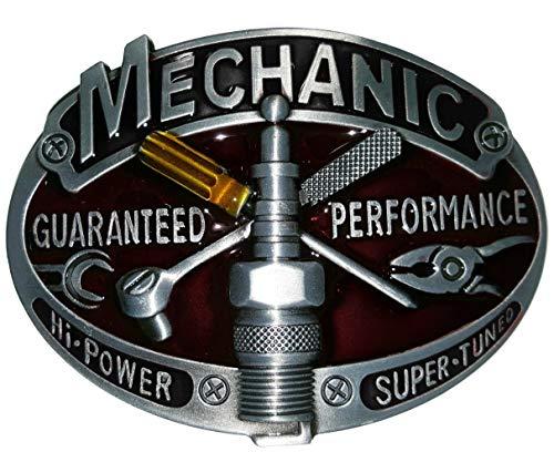 Shirtmatic Mechanic Mechaniker Buckle Gürtelschnallen Auto V8 Werkstatt Hot Rod Rockabilly (Performance)