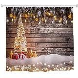 A.Monamour Cortinas de Ducha Decoraciones para Árboles De Navidad sobre Tablones De Madera Fotografía De Fondo Tela Impermeable Sistema De Cortina De Ducha con Ganchos para Baño 150X180 Cm / 60'X72