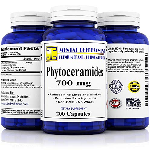 Pure Phytoceramides: 700mg 200 Caps - Best Value, Max Strength, All Natural - Supports Reduction of Fine Lines & Wrinkles and Increased Skin Moisture