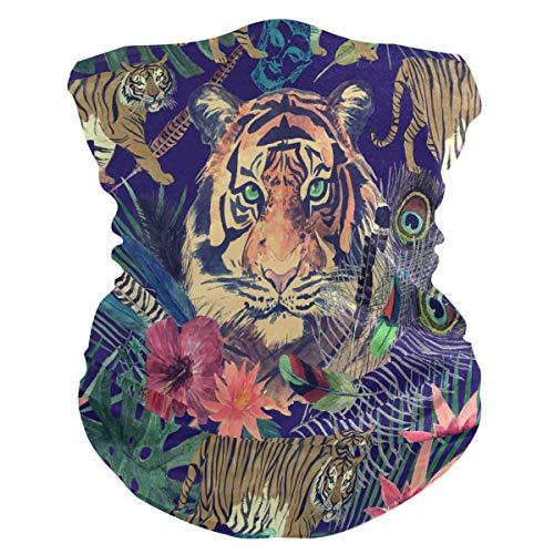 Alarge - Pañuelo para la cabeza, suave, diseño floral, pavo real, tigre y tigre, transpirable, máscara de protección solar, pasamontañas para niños, niñas y niños