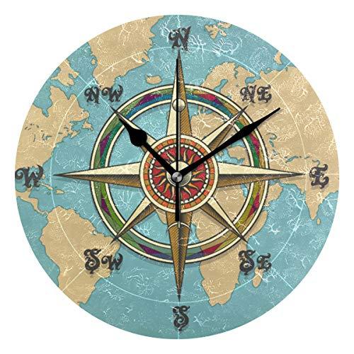 QMIN Wanduhr Klassisch Vintage Kompass Weltkarte Runde Uhr Stille Kein Ticken Leise Uhr für Schlafzimmer Wohnzimmer Küche Büro Heimdekoration