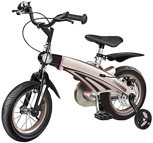12 14 16 Bicicleta para niños de 3 a 6 años de edad Niños Bicicleta con ruedas de entrenamiento Frenos de mano azul/amarillo/rosa/oro amarillo 53.4cm/21in_A