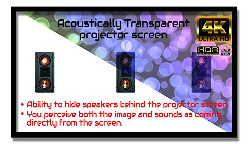 """Delux Screens 135 inch 4K/8K Ultra HDR UHD Projector Screen - Active 3D Ready - 6 Piece Fixed Frame - Home Theater Movie Projection Screen - Acoustically Transparent - Velvet Border 135"""", 16:9"""