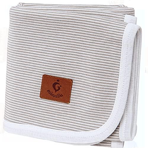 Manta para bebé mimaDu®, 100% algodón OEKO-TEX, manta de cuna – suave y ligera – regalo ideal para recién nacido, bautizo, nacimiento, babyshower, niños y niñas (gris y blanca)