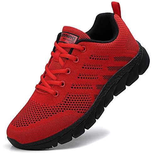 ZPAWDH Damen Turnschuhe Atmungsaktiv Laufschuhe Leichtgewichts Sportschuhe Freizeitschuhe Straßenlaufschuhe Outdoor Sneaker(Red Black,38EU)